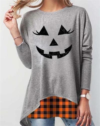 Casual Crew Neck Cotton Halloween Shirt & Top