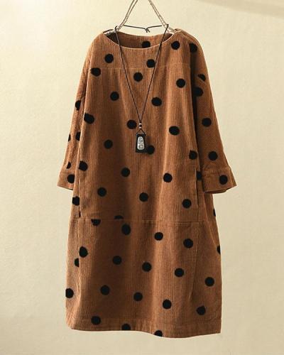 Vintage Print Polka Dots Long Sleeve Pockets Corduroy Dress