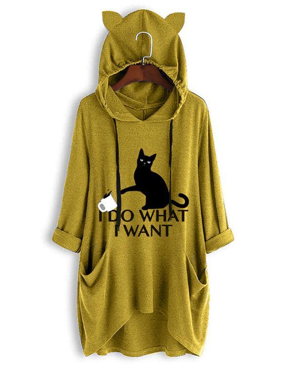 I DO WHAT I WANT Cute Cat Print Irregualr 3/4 Sleeve Plus Size Hoodie