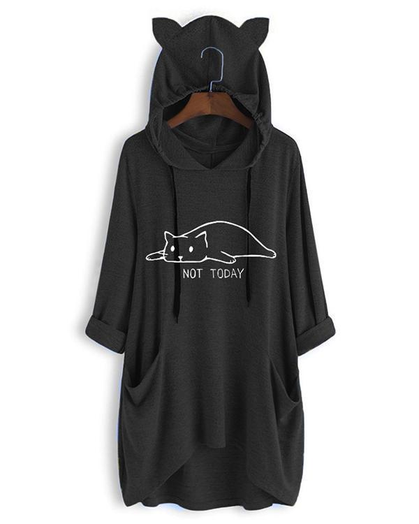 Cute Cat Print Irregualr 3/4 Sleeve Plus Size Hoodie
