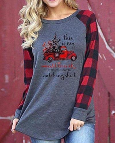 Casual Plus Size Christmas Cotton Blend Plaid Shirt & Top