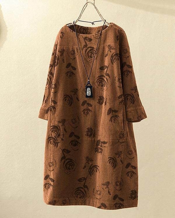 Vintage Flowers Print Corduroy Loose Dress with Pockets