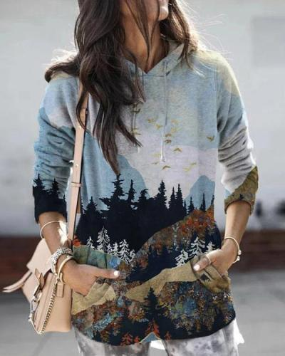 Women Landscape Print Long Sleeve Hooded Casual Hoodie