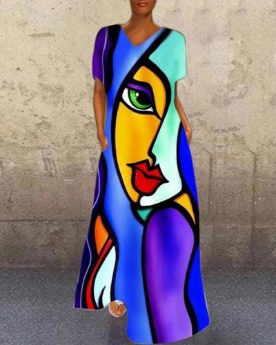 Copy V Neck Printed Casual Holiday Dresses