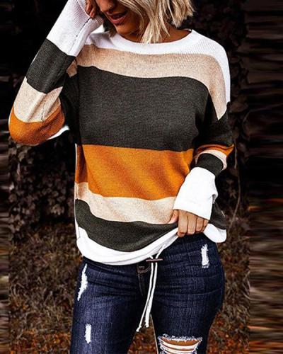 Plus Size Color Block Round Neck Casual Sweaters