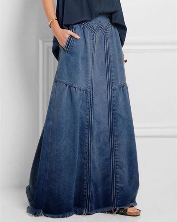Blue Basic Plain Denim Shift Skirts