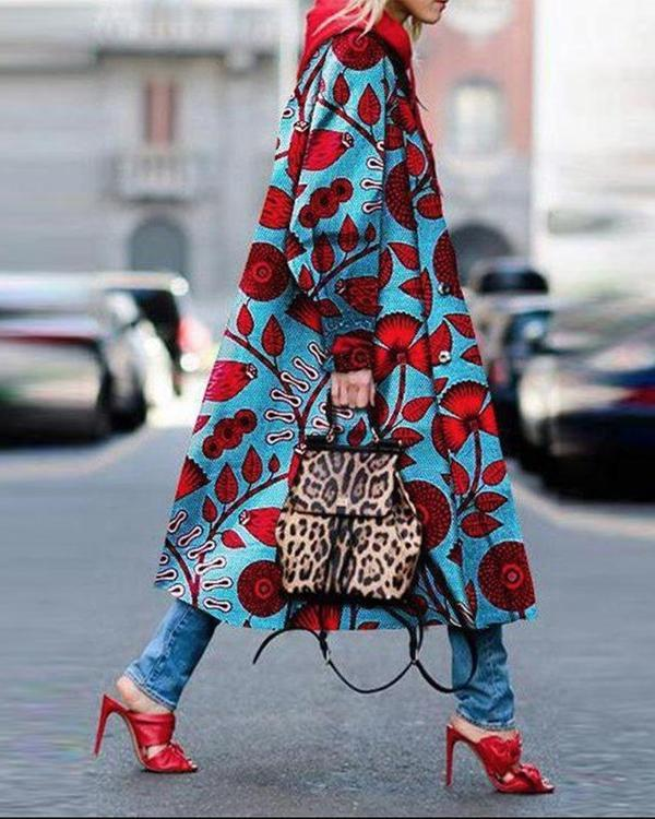 National Red Floral Printed Hoodie Long Sleeve Pockets Outerwear