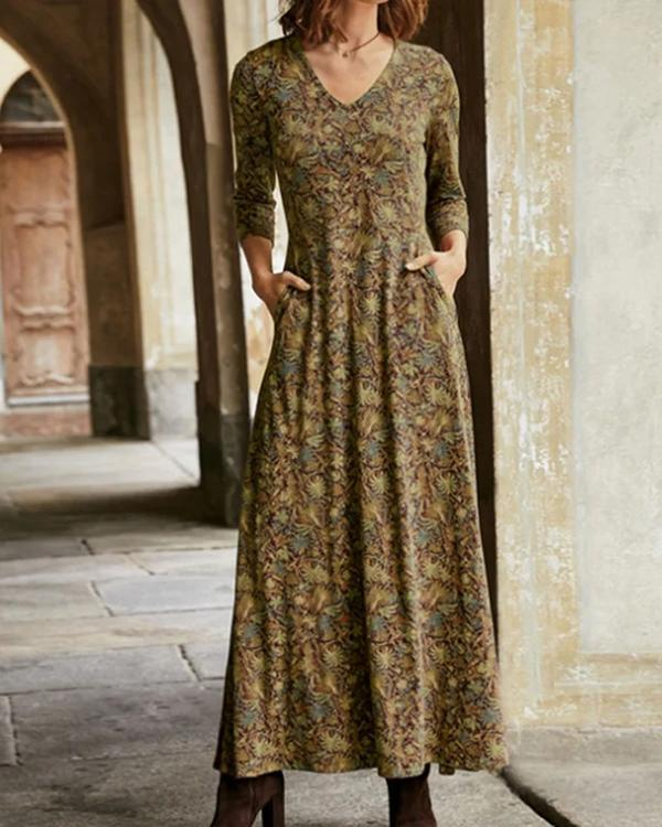 Long Sleeve Casual Floral Cotton Dresses