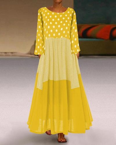 Casual Plus Size Polka Dot Round Neckline Maxi A-line Dress