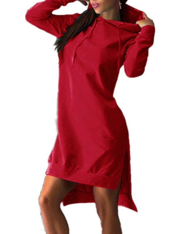 Daily Long Sleeve Hoodie Casual Shift Slit Dress