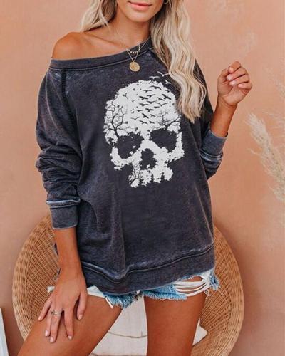 Cotton Casual Skull Pumpkin Letter Print Cozy Sweatshirt