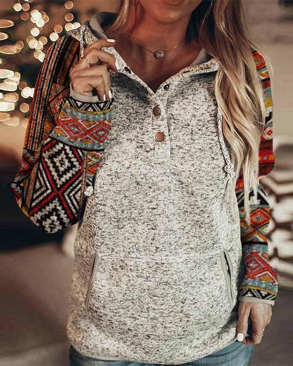 Fashion Print Button Down Hooded Sweatshirt