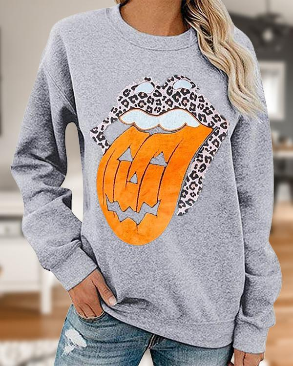 Casual Pumpkin Lip Print Cozy Sweatshirt