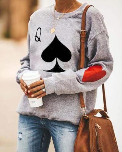 Women's Cotton Fleece Casual Print Warm Cozy Sweatshirt