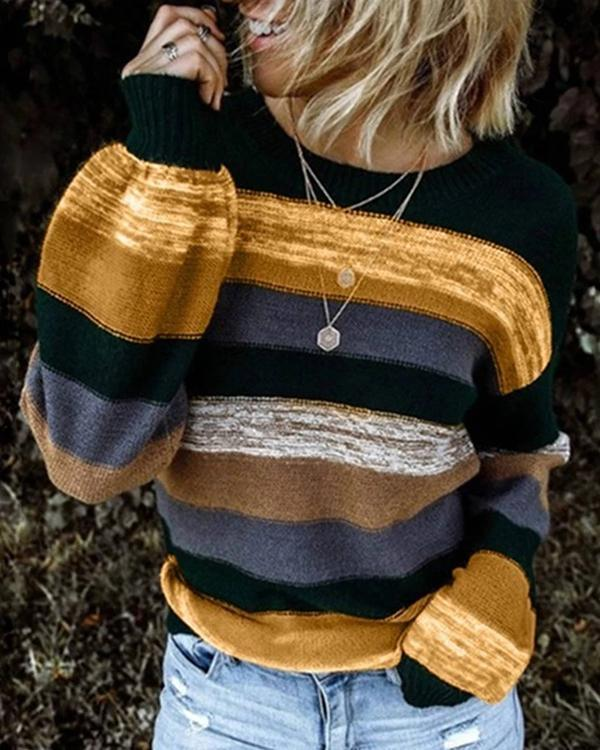 Stripes Crew Neck Sweaters Long Sleeve Womens Knit Sweaters