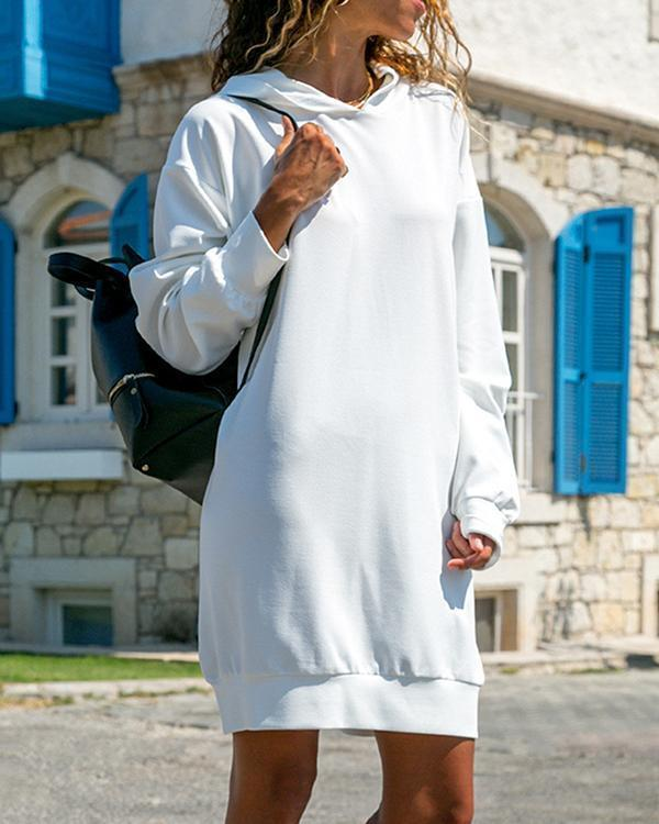 Autumn Women Long Sleeve Plain Hooded Sweatshirt Loose Casual Hoodies Dress
