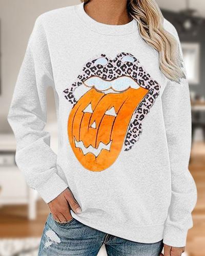 Casual Pumpkin Lip Print Cozy Sweatshirt