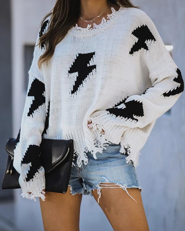 Casual Long Sleeve Fringed Sweater Lightning Pattern Pullover Sweater