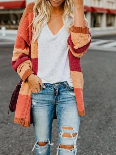 Elegant Solid Gradient Color-block Plus Size Cardigan