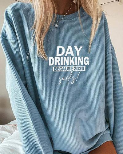 Casual Letter Printed Long-Sleeved  Crew Neck Sweatershirt