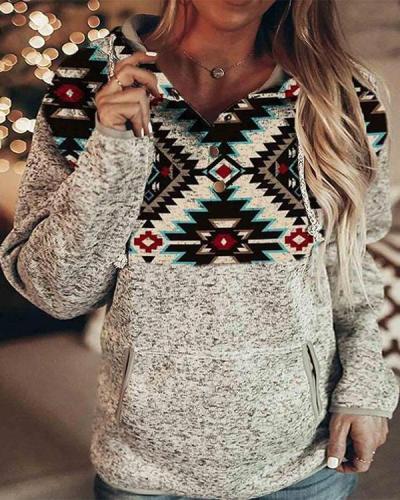 Tribal Print Button Down Hooded Sweatshirt