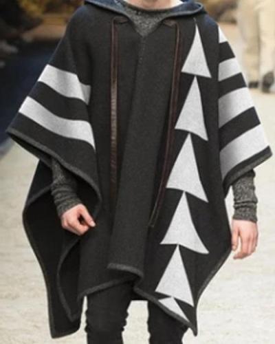 Men's Print Casual Hooded Coat