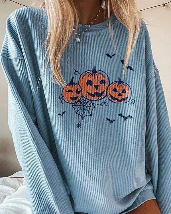 Casual Pumpkin Printed Long-Sleeved Sweatershirt