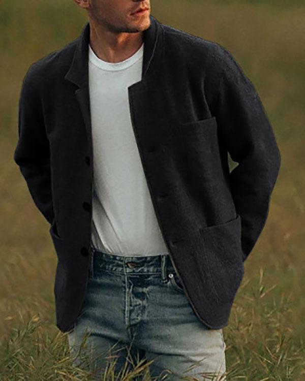 Men's Autumn Winter Zip Up Slim Collar Shoulder Ruched Jacket