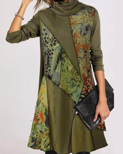 Casual Floral Tunic Draped Neckline Shift Dress