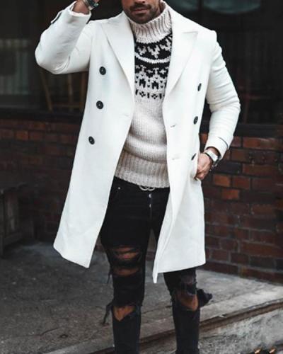 Men's Long Sleeve Loose Overcoat Jacket Long Trench Coat