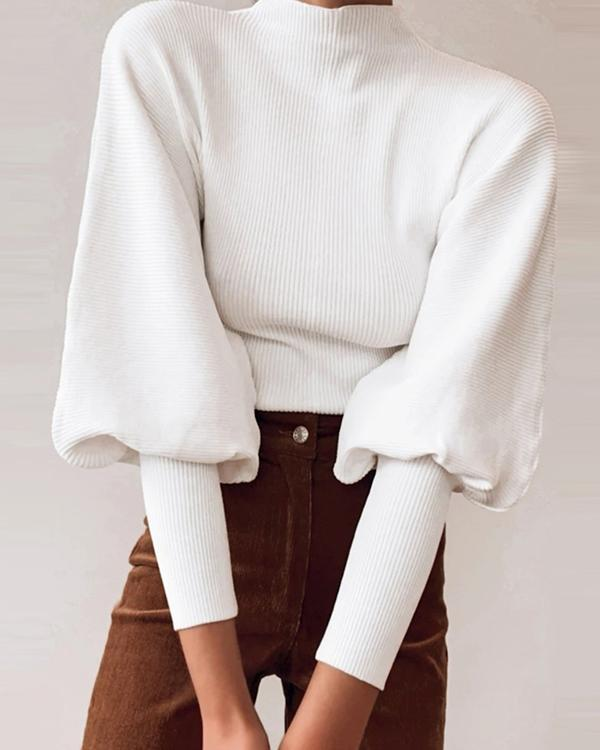 Solid Turtle Neck Ribbed Sweaters Lantern Sleeve Womens Knit Sweaters