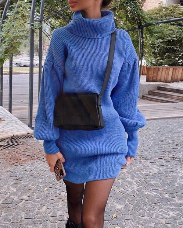 Elegant Solid Turtle Neck Lantern Sleeve Sweater Dress