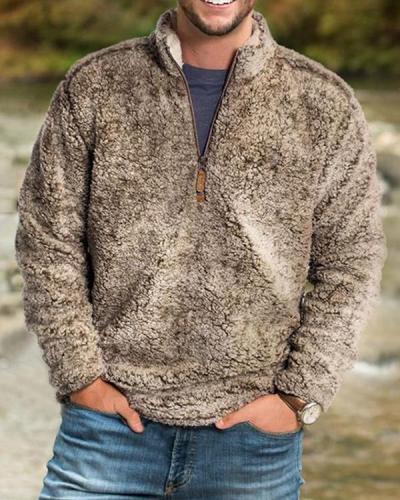 Mens Casual Plush Pullover Zipper Sweater