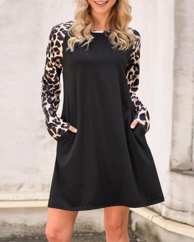 Leopard Splicing Pocket Mini Dress - Black