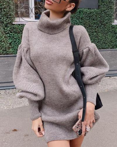 Elegant Solid Turtle Neck Lantern Sleeve Sweater Dress