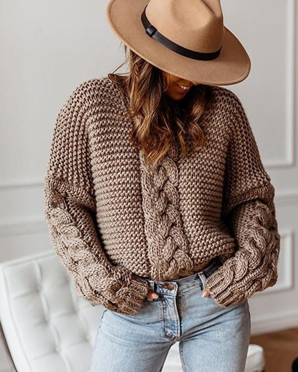 Pius Size Solid Cable-knit Chunky knit V-Neck Loose Casual Sweaters