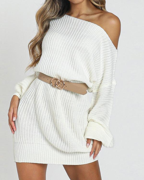 Solid One Shoulder Casual Long Sweater Dress