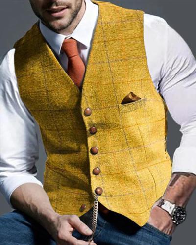 Mens Casual Plaid Suit Vest Tweed Slim Fit Waistcoat