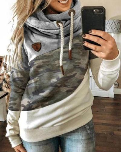 Hooded Multicolor Long Sleeve Sweatshirt