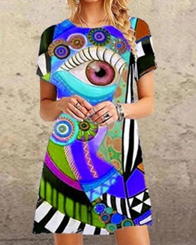 Women's Shift Dress Print Viange Mini Dress
