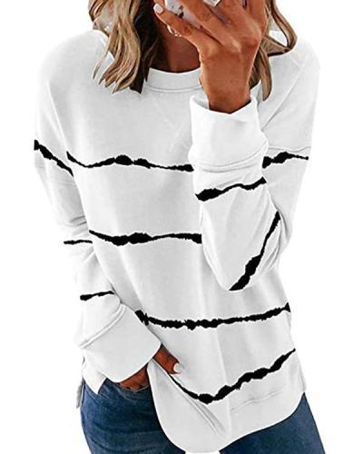 Stripes Round Neck Casual Sweatshirt