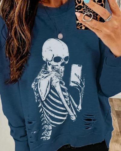 Halloween Skull/Skeleton Lady Sweatshirts Hole Design Long Sleeve Sweatshirts