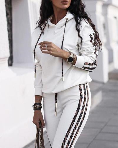 Casual Color Patchwork Hoodie Sweatshirt&Pants Set Sportswear