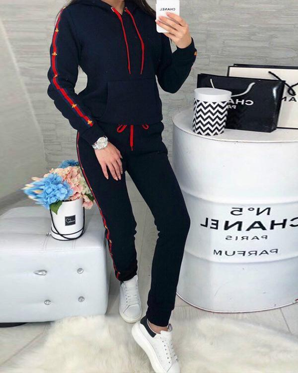 Casual Color Patchwork Hoodie Sweatshirt&Pants Set Sportswear