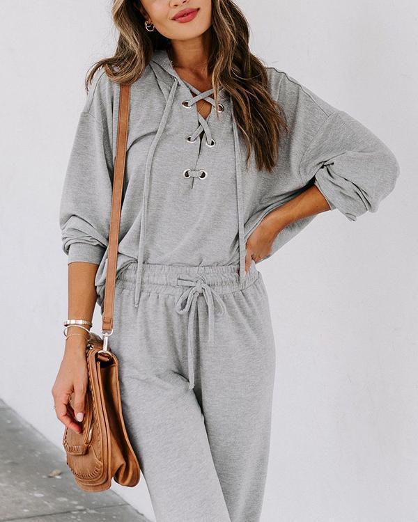 Casual Cozy Lace-up V Neck Hoodie Sweatshirt&Pants Set Sportswear