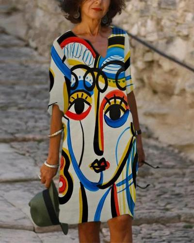 Women's Shift Dress Print Viange Dress