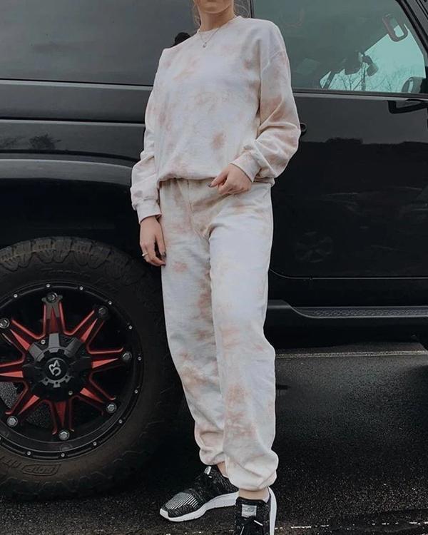 Casual Cozy Crew Neck Tie Dye Sweatshirt&Pants Set