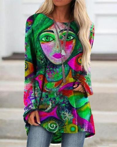 Women Casual Long Sleeve Print Tops