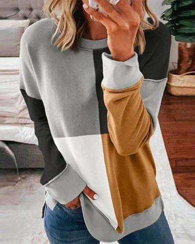 Round Neck Casual Plaid Sweatshirt