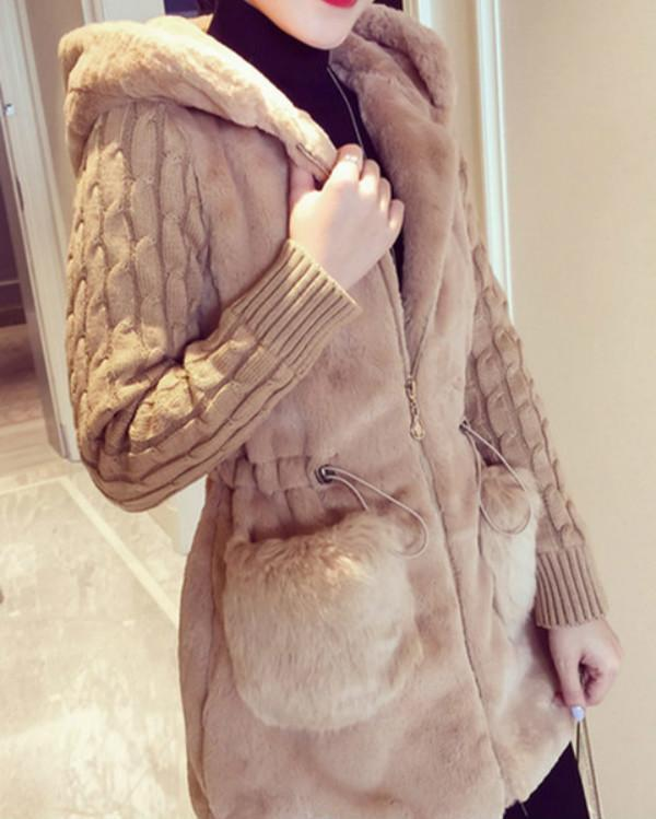 Pockets Casual Hoodie Plus Size Coats